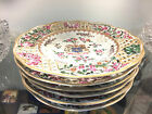 (6) SAMSON ENGLISH PORCELAIN CHINA HAND PAINTED PIERCED PLATES CREST