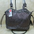New Way West Purse Concealed Gun Carry Tooled Faux Leather Brown Tassel Studs