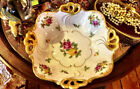 Vintage JLMENAU Porcelain Double Handled Footed Basket with Gold Gilding