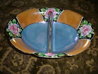 Blue & Orange with Roses Lusterware MADE IN JAPAN Divided Serving Dish
