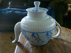 Vintage Ellgreave White and Blue Wheat Tea Pot Wood Sons England Ironstone (S)