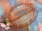 Vintage Hocking Depression Glass Pink 2 Part Divided Relish Oyster & Pearl 38-40