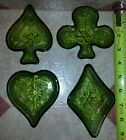 Vintage 4 Piece Green Depression Glass Nut Dishes Spade, Heart, Club, & Diamond