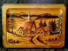 Vintage German wood carved panel of Alpine village Bamberg 1955 15.75