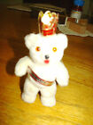 Vintage standing flocked white bear with Berlin on paper sash and crown 3 1/2