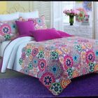 CYNTHIA ROWLEY MULTI COLORED MOROCCAN MEDALLION REVERSIBLE TWIN QUILT SET