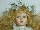 Vintage Unmarked Porcelain Doll  stuffed body and doll stand 16 inches tall