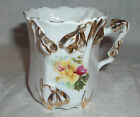 0584 Porcelain Demitasse Tea or Chocolate Cup Applied Yellow Flowers Gold Trim