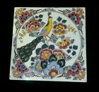 Polychrome Vintage Decorative Tile with Peacock and Flowers