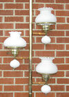 VTG RETRO MID CENTURY Milk Glass HOBNAIL SHADES TENSION POLE Lamp Shabby Chic