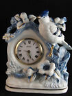 Vintage Porcelain Linden Mantel Alarm Clock (white & blue with gold trim)