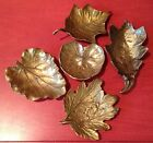 Collection Of 4 Brass Virginia Metalcrafters Leaf Trays + Bonus Bassick Sack