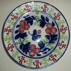 ANTIQUE STICK SPATTERWARE GAUDY IRONSTONE BLUE/WHITE/RED PLATE