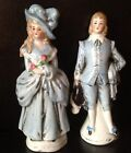 Vintage Porcelain Figurine Woman Lady Man Blue Set marked Germany