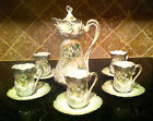Antique 1905-1910 R.S. Prussia Marked Green Floral 12 pc Chocolate Tea Set