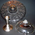 Lot 3 Items Etched Glass Cake Stand Prelude Pattern, Sterling Base, Candy Dish