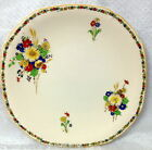 JOHN MADDOCK ROYAL IVORY SQUARE ROUND DINNER PLATE FLORAL & YELLOW BORDER