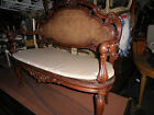350A HAND CARVED VICTORIAN SETTEE, CANE BACK SETTEEW RICH CARVED FRAME