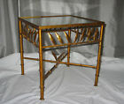 Vintage Hollywood Regency Faux Bamboo Metal Italian Tole Gold Ormolu Side Table