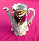 Ornate Antique Chocolate Pot - Pearlescent, Burgundy and Gold 8x8 #5846