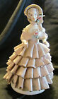 Dresden Lace Figurine, Victorian Woman, Full layered Skirt/Bonnet, Incised Mark