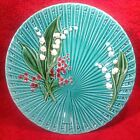 Antique Teal German Majolica Lily of the Valley Pedistal Plate, gm264