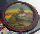 Antique Reverse Painting Dutch Windmill Tiger Eye Oval Wood Frame Convex Glass