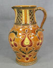 ANTIQUE ITALY ITALIAN TUSCAN MAJOLICA GLAZED CERAMIC PITCHER EWER JUG ~ FLOWERS