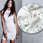 Cotton White lace fabric with lotus leaf for dress free shipping SP173