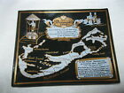 Vintage Bermuda Glass Souvenir Dish Plate Map and Trave Distances from Cities