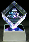 Laser Etched Crystal Happy Birthday Paperweight Display w 4 LED Base USA Seller