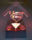 Laser Etched Crystal I Love You Paperweight Display w 4 LED Base USA Seller