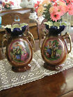 Vintage Porcelain Urns or Vases Hand Painted  Set of two 14