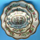 ANTIQUE COALPORT INDIAN TREE SCALLOPED PLATTER, 2 BOWLS GREEN