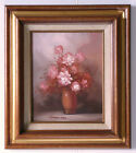 Robert Cox (1934-2001) Original Oil Painting Flowers Pink Roses