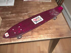 VINTAGE NASH Red Skateboard Translucent Lucite 1970s w/ kicktail and decals