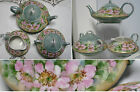 ANTIQUE HAND PAINTED J&C BAVARIA TEA SET TEA POT SUGAR BOWL & CREAMER DOGWOOD