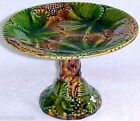 GM461, Antique German Majolica Grapes Leaves Footed Pedistal Compote c.1820-1882