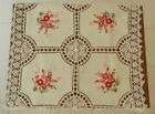 TABLECLOTH HAND MADE CROCHET LACE & RIBBON EMBROIDERY: BEIGE; 32 x 32