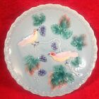 Vintage German Majolica Birds Grapes Lt. Blue Footed Pedistal Plate, gm196