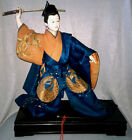 Antique Japan Samurai Ningyo Doll Warrior Embroidered Silk Kimono Brass Sword