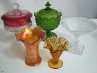 5 Pcs Lot Vintage Glass Saucers Green Red Orange Clear Kitchen Dinnerware Set