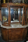 Early 1900's? Wood (walnut?) with inlay and marble top curio cabinet!