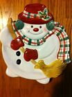 Fitz & Floyd Plaid Christmas Snowman TRAY Appetizer DISH Wall HANGING 9X8