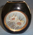 Chokin Pottery Vase w/ Brass Copper and Gold Trim 5 1/4