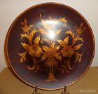 Made in China Decorative Plate Black Background Burgundy Gold Flowers Urns SO3