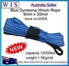 Blue Dyneema Winch Rope,Synthetic Cable 9mm x 30m 4WD Recovery Offroad-45958