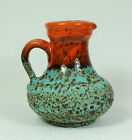 vintage german 1960's VASE u-keramik model 1308/14 green lava glaze and orange
