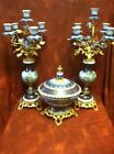 Pair French Sevres Gilt Bronze Cobalt HP Porcelain Candelabras 22