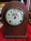 ANTIQUE New Haven Clock Co. Mantle Clock Nice Floral Dial Working